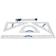 Набор инструментов для досок: магнитный треугольник 60 градусов, магнитный треугольник 45 градусов, магнитный транспортир, магнитная линейка 100 см, циркуль на силиконовых присосках. - AS140
