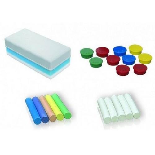 Стартовый набор для меловых досок: губка для стирания, магниты 10 шт. (Ассорти), 2 комплекта мела - цветная (10шт.) И белая (10 шт.) - AS112