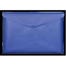 Папка-конверт А5 на кнопке, полупрозрачная, синий