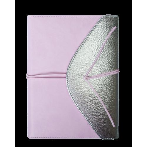 Ежедневник недатированный BELLA, A5, 288 стр., розовый с серебром