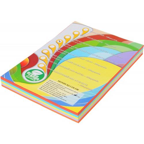 Набор цветной бумаги интенсив, А4, (5 цветов по 50 листов, 250 листов)