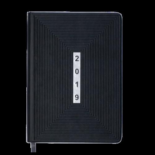 Ежедневник датированный 2019 MEANDER, A5, 336 стр., черный