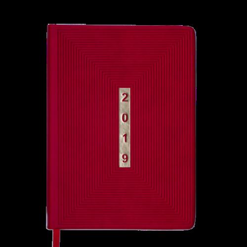 Ежедневник датированный 2019 MEANDER, A5, 336 стр., красный