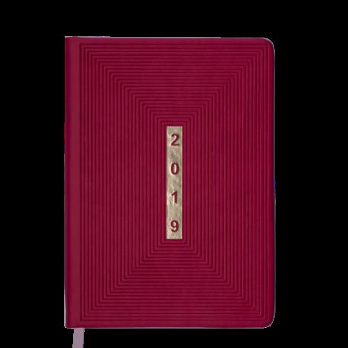 Ежедневник датированный 2019 MEANDER, A5, 336 стр., розовый (малиновый)
