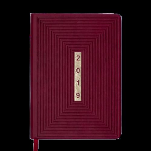Ежедневник датированный 2019 MEANDER, A5, 336 стр., бордовый