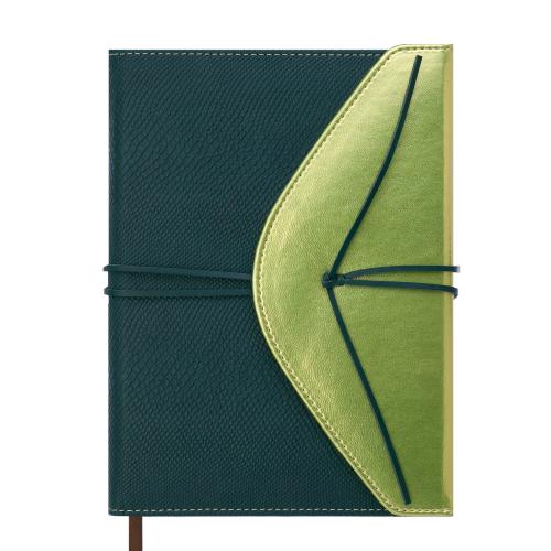 Ежедневник недатированный BELLA, A5, 288 стр., зеленый с золотом