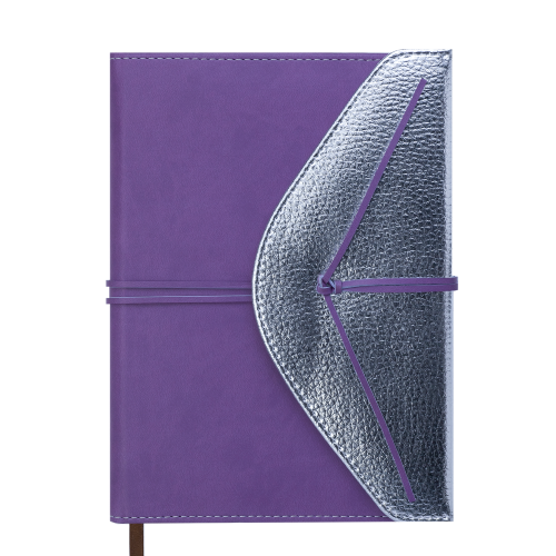 Ежедневник недатированный BELLA, A5, 288 стр., фиолетовый с серебром