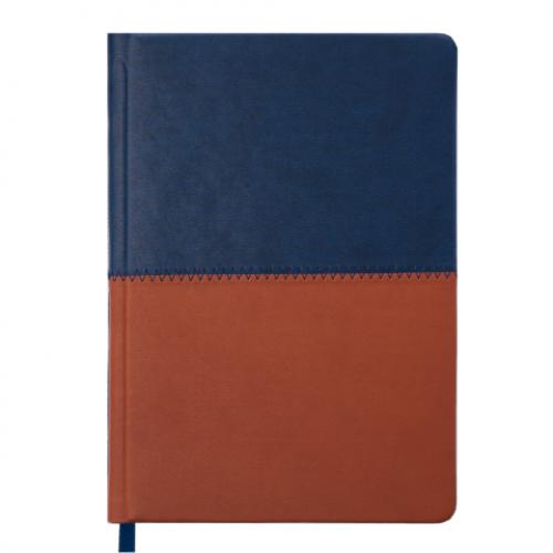 Ежедневник датированный 2019 QUATTRO, A5, 336 стр. синий + коричневый