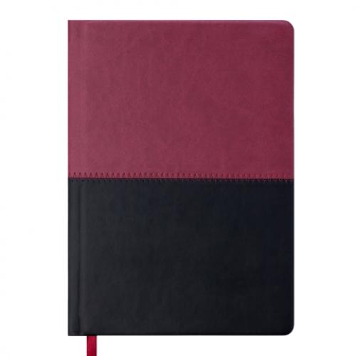 Ежедневник датированный 2019 QUATTRO, A5, 336 стр. бордовый + черный