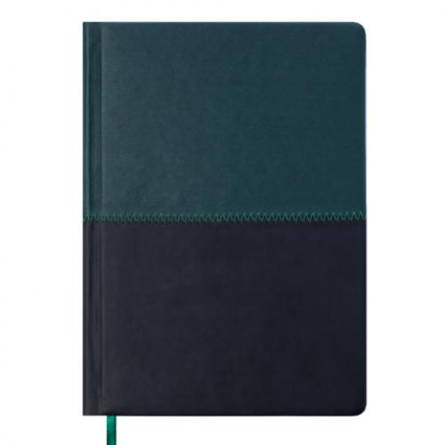 Ежедневник датированный 2019 QUATTRO, A5, 336 стр. темно-зеленый + черный