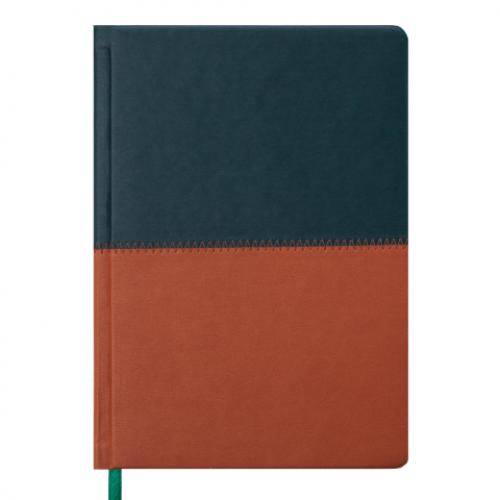 Ежедневник датированный 2019 QUATTRO, A5, 336 стр.темно-зеленый + светло-коричневый