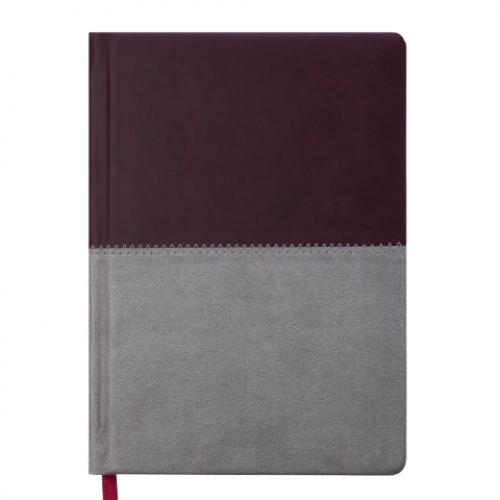 Ежедневник датированный 2019 QUATTRO, A5, 336 стр. бордовый + серый