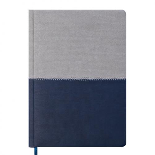 Ежедневник датированный 2019 QUATTRO, A5, 336 стр. синий + серый