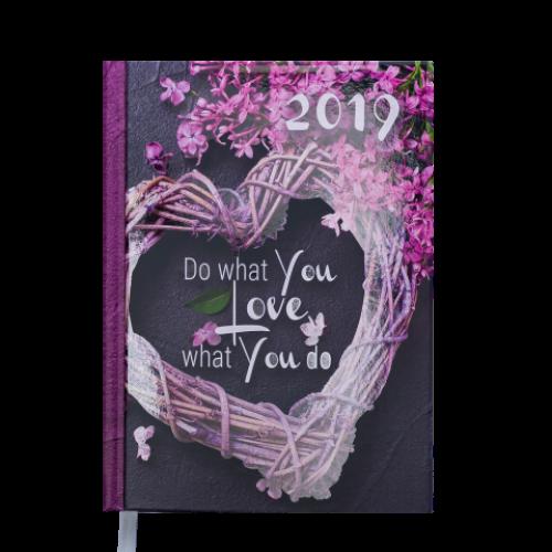 Ежедневник датированный 2019 ROMANTIC, A5, 336 стр., серый