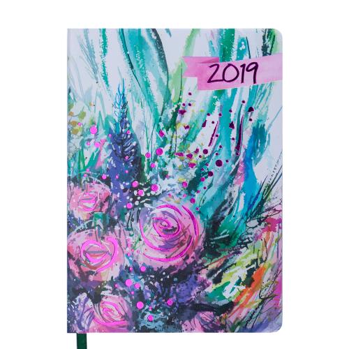 Ежедневник датированный 2019 CHERIE, A5, 336 стр., зеленый