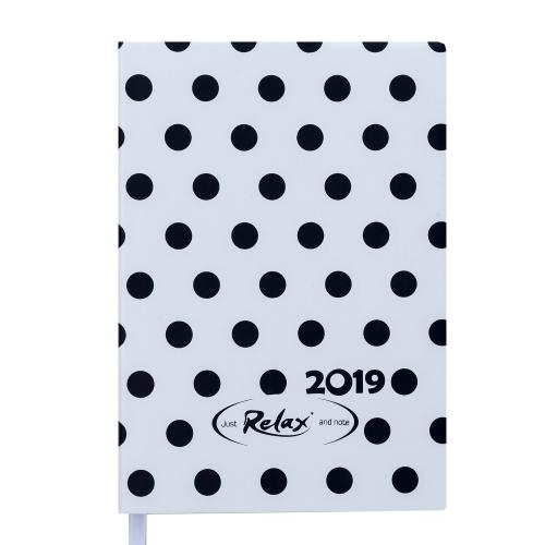 Ежедневник датированный 2019 RELAX, A5, 336 стр., белый