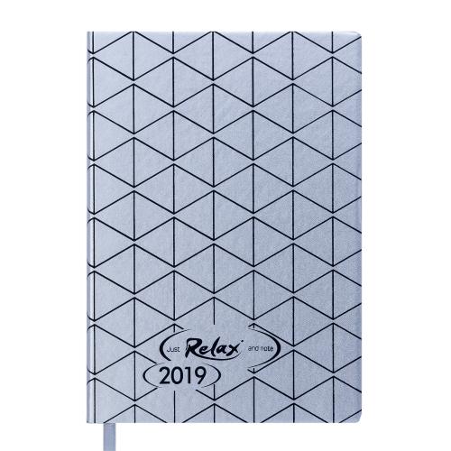 Ежедневник датированный 2019 RELAX, A5, 336 стр., серебро