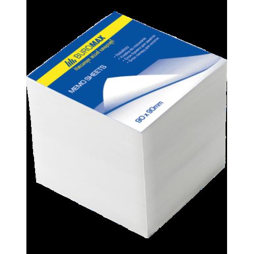 Блок белой бумаги для заметок 90х90х90мм, не склеенный
