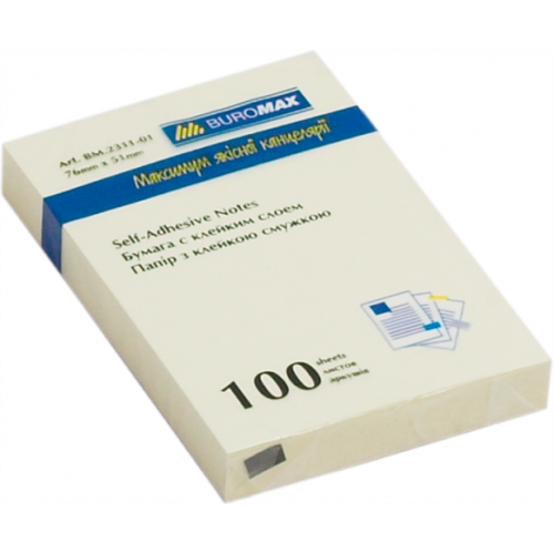 Блок бумаги для заметок 51 x 76мм, 100 листов, желтый