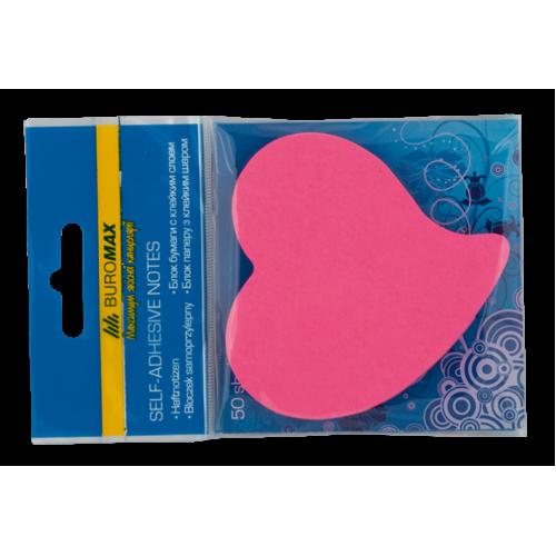 "Блок бумаги для заметок NEON ""Сердце"", 50 листов, ассорти"