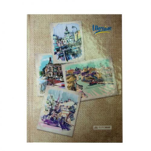 Блокнот UKRAINE, А-5, 96л., клетка, тв. картонная обложка, св.коричневый