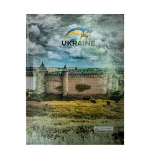 Блокнот UKRAINE, А-5, 96л., клетка, тв. картонная обложка, коричневый