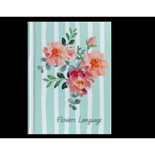 Блокнот FLOWERS LANGUAGE, А-6, 64л., кл., тв. обл., мат. лам.+лак, зеленый