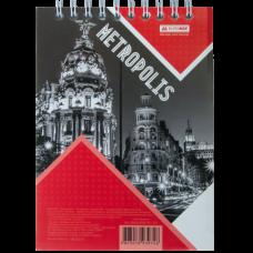 Блокнот на пружине сверху METROPOLIS, А-6, 48л., клетка, картонная обложка, красный