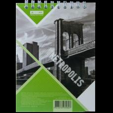 Блокнот на пружине сверху METROPOLIS, А-6, 48л., клетка, картонная обложка, салатовый