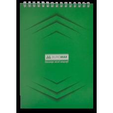 Блокнот на пружине сверху MONOCHROME, А5, 48 листов, зеленый