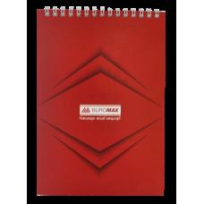 Блокнот на пружине сверху MONOCHROME, А5, 48 листов, красный
