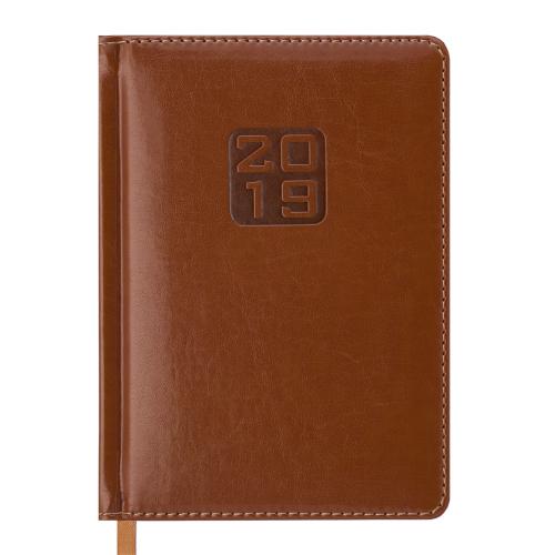 Ежедневник датированный 2019 BRAVO(Soft), А6, 336 стр., коньячный