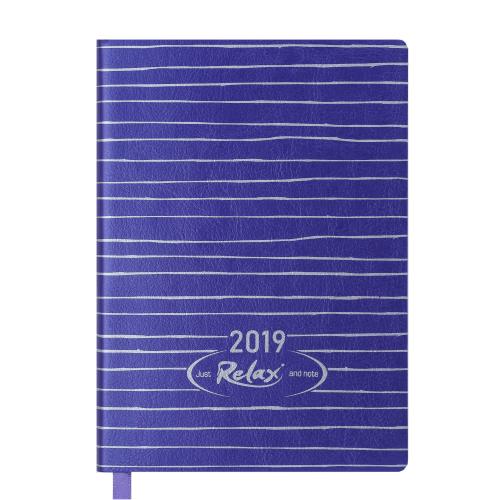 Ежедневник датированный 2019 RELAX, A6, 336 стр., фиолетовый