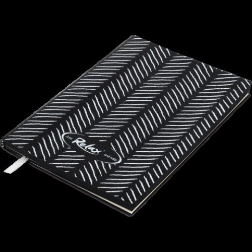 Блокнот деловой RELAX А5, 96л., чистый, обложка искусственная кожа, черный