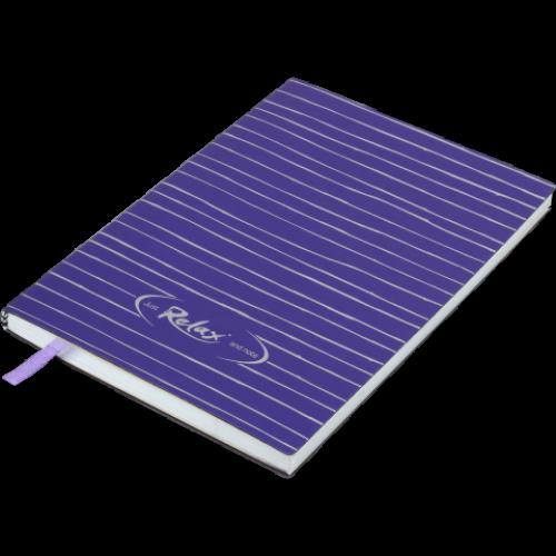 Блокнот деловой RELAX А5, 96л., чистый, обложка искусственная кожа, фиолетовый