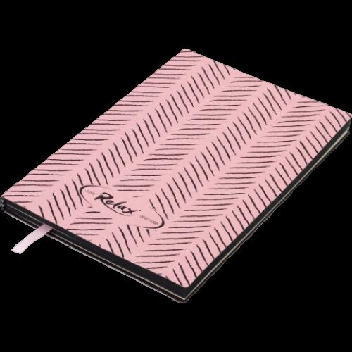 Блокнот деловой RELAX А5, 96л., линия, обложка искусственная кожа, розовый