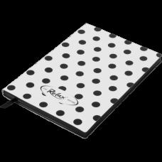 Блокнот деловой RELAX А5, 96л., линия, обложка искусственная кожа, белый