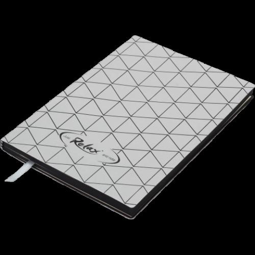 Блокнот деловой RELAX А5, 96л., чистый, обложка искусственная кожа, серебро