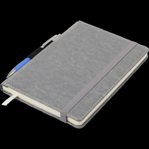 Блокнот деловой CODE А5, 96л., линия, обложка искусственная кожа, серый