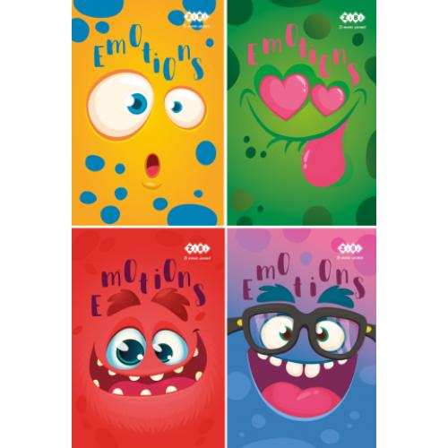 Блокнот на пружине сверху, А-7, 40л., EMOTIONS, картонная обложка, KIDS Line