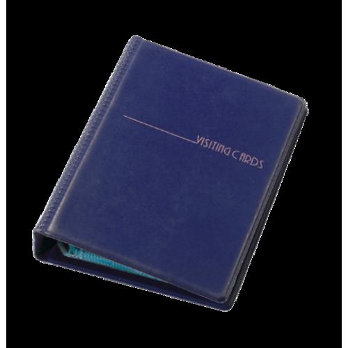 Визитница на кольцах Panta Plast на 120 визиток, винил, темно-синяя