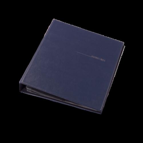 Визитница для 400 визиток на кольцах, винил, темно-синяя
