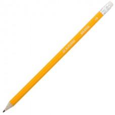 Карандаш графитовый HB, желтый, с ластиком, туба