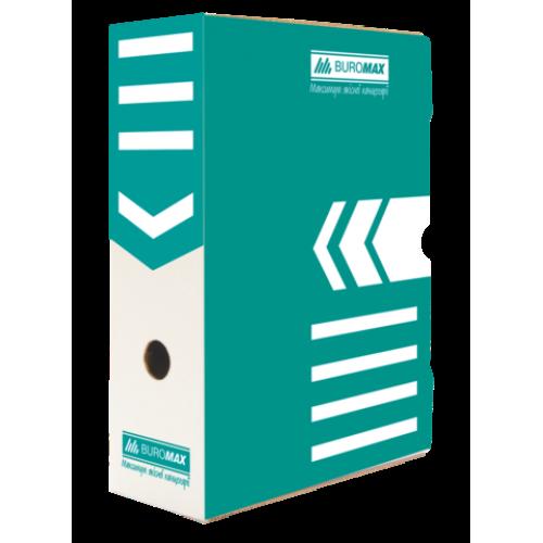 Бокс для архивации документов 100 мм, BUROMAX, бирюзовый