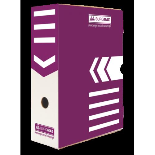 Бокс для архивации документов 100 мм, BUROMAX, фиолетовый