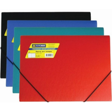 Папка пластиковая BUROMAX, А4 на резинках, ассорти