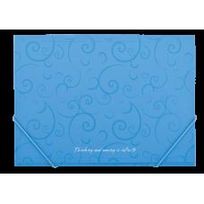 Папка пластиковая А4 на резинках, BAROCCO, голубой