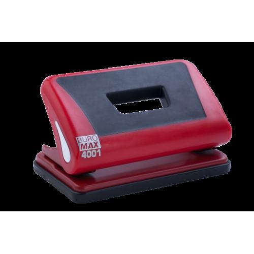 Дырокол пластиковый с резиновой вставкой, BUROMAX, 10 листов, красный