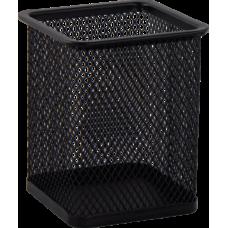 Подставка для ручек квадратная BUROMAX, металлическая, черная