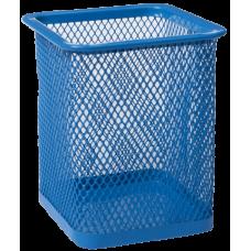 Подставка для ручек квадратная BUROMAX, металлическая, синяя